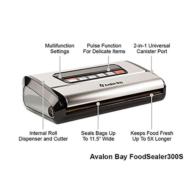 6 x FOODSEALER300S Avalon Bay FoodSealer300S Vacuum Sealer for Food Storage (6 Pack) 3