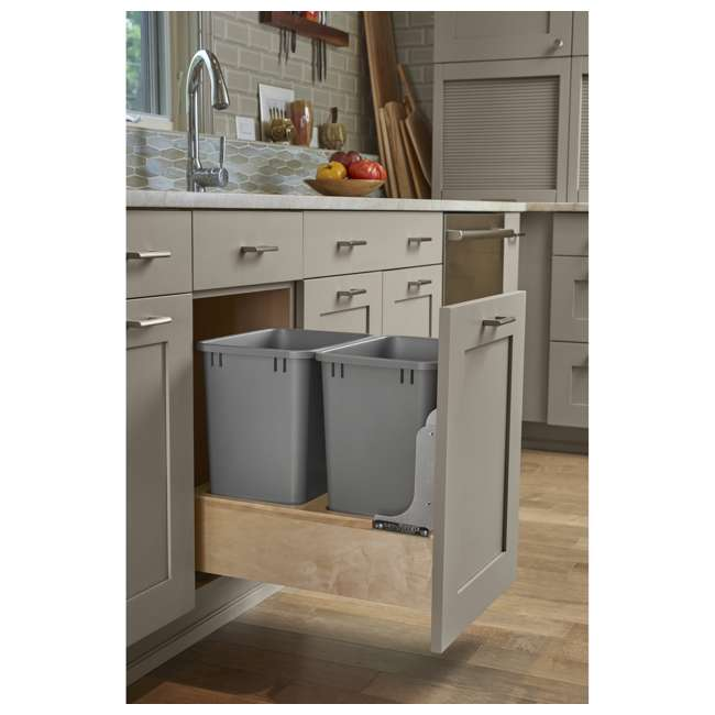 4WCBM-18DM-2 Rev-A-Shelf 4WCBM-18DM-2 Double 35 Quart Base Cabinet Pull Out Waste Containers 2