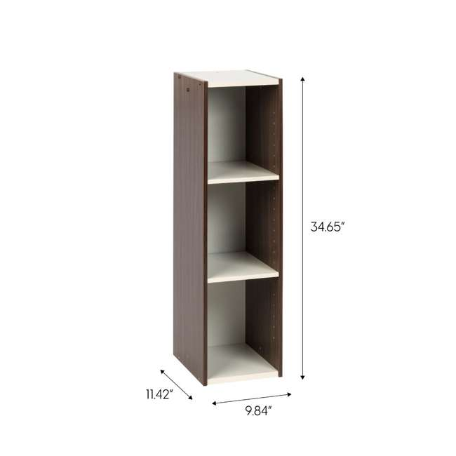 596307 IRIS USA 596307 Space Saving Adjustable Stackable Shelf Organizer, Walnut Brown 5