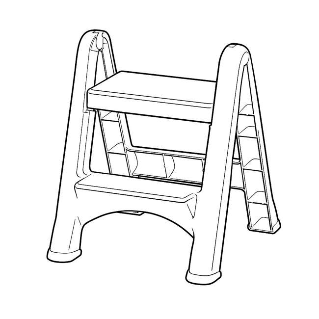 FG420903CYLND Rubbermaid 2 Step Slip Resistant Folding Plastic Stepstool with Foot Pads, Grey 3