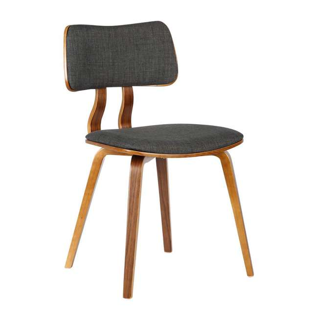LCJASIWACH Armen Living Jaguar Mid-Century Dining Chair in Walnut Wood and Charcoal Fabric