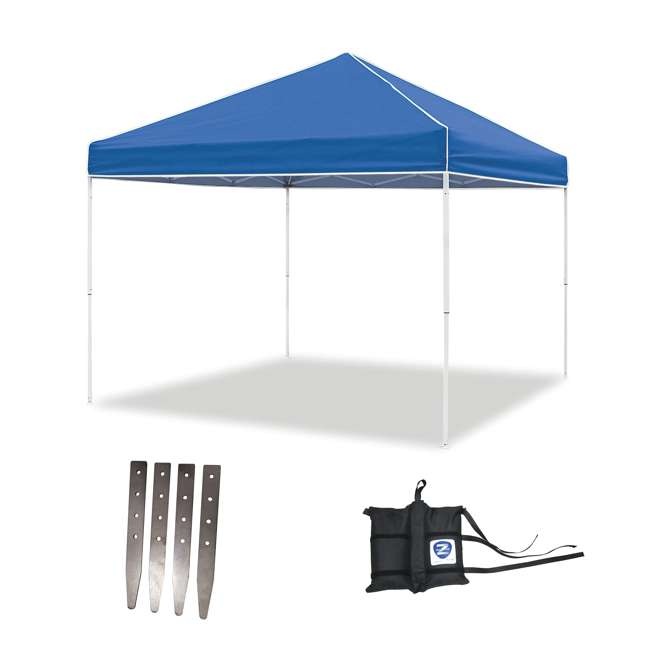 ZSB10EVRBL + ZSHDSK4 + ZSHDWB4 Z-Shade 10 x 10 Foot Instant Pop Up Canopy Tent w/ Steel Stakes & Weight Bags