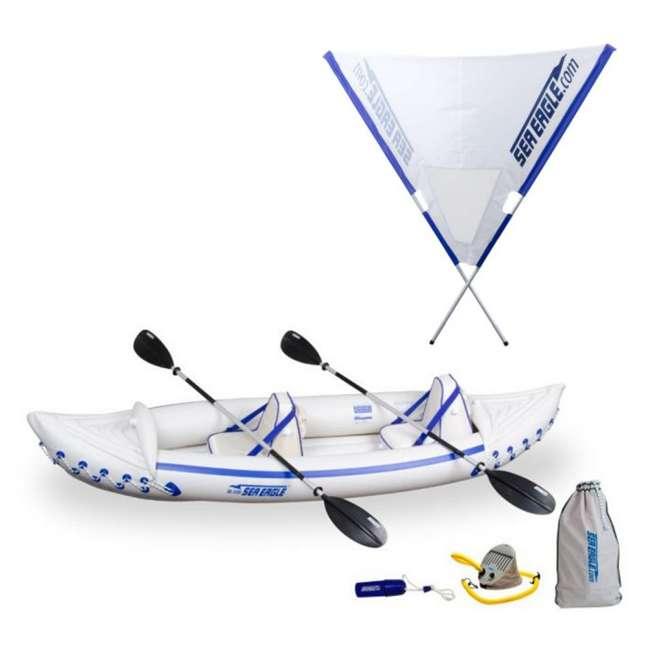 Sea Eagle 330 Pro Kayak - Professional 2 Person Inflatable Canoe + Quiksail  45° Boat Sail