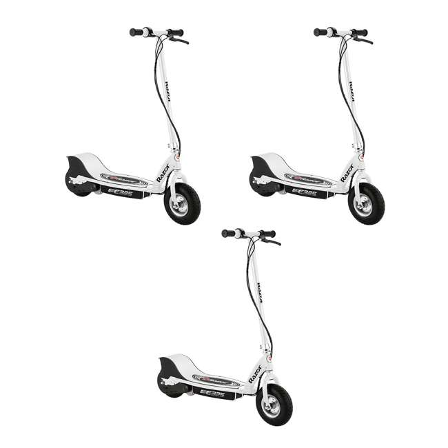 3 x 13116310 Razor E325 Adult Ride-On 24V High-Torque Motor Electric Scooter, White (3 Pack)