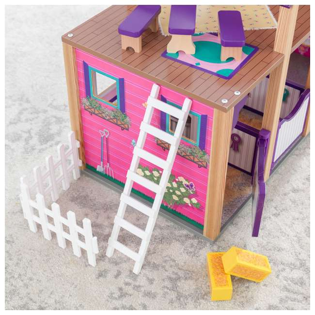 63602 KidKraft Kids Deluxe Toy Horse Stable Wooden Barn Doll House Play Set with Fence 7
