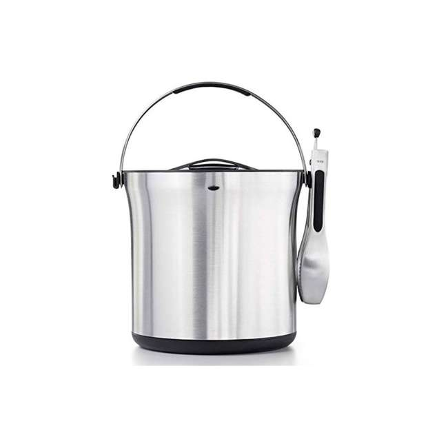 3107300 OXO 3107300 Stainless Steel Insulated Ice Bucket with Clear Lid and Tong Set