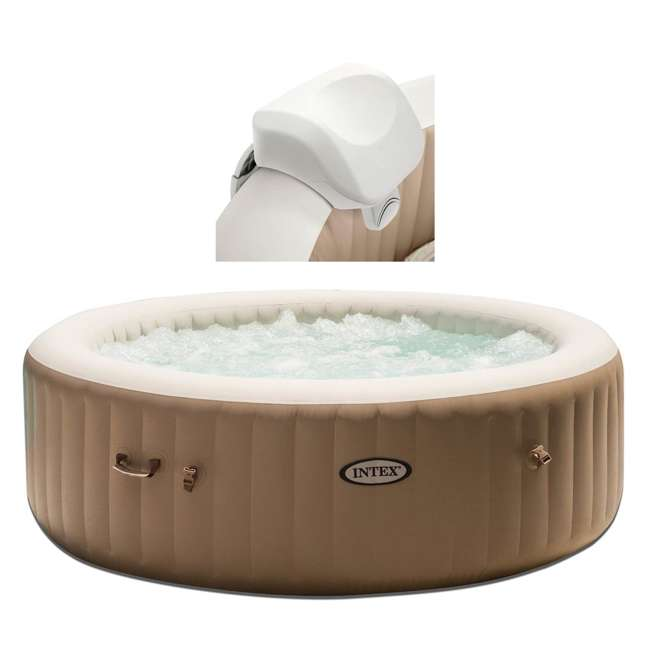 28505E + 28407E Intex 28407E Pure Spa 4-Person Inflatable Heated Hot Tub With Soft Foam Headrest