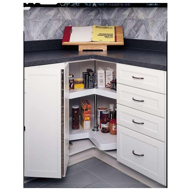 6472-32-11-52 Rev-A-Shelf 6472-32-11-52 32 Inch White Polymer Kidney Shaped 2 Shelf Lazy Susan 3