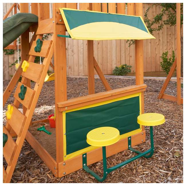 KDK-F23210C Kidkraft Brightside Wooden Cedar Discovery Swing Set/ Playset with Climbing Wall 2
