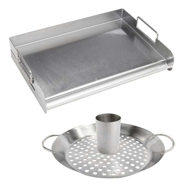 BOPA-24105 + BOPA-24106 Bull Flat Top Grill Griddle & Convertible Wok/Vertical Smoker Rack