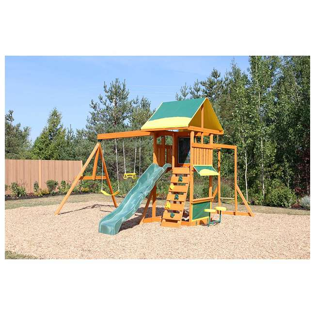 KDK-F23210C Kidkraft Brightside Wooden Cedar Discovery Swing Set/ Playset with Climbing Wall 1