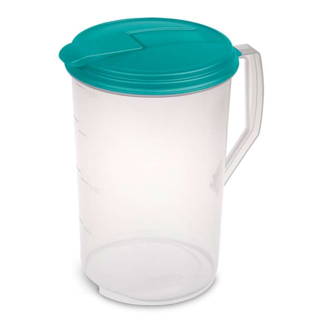 18 x 04880906 1-Gallon Round Plastic Pitcher, Clear with Blue Lid (18 Pack)