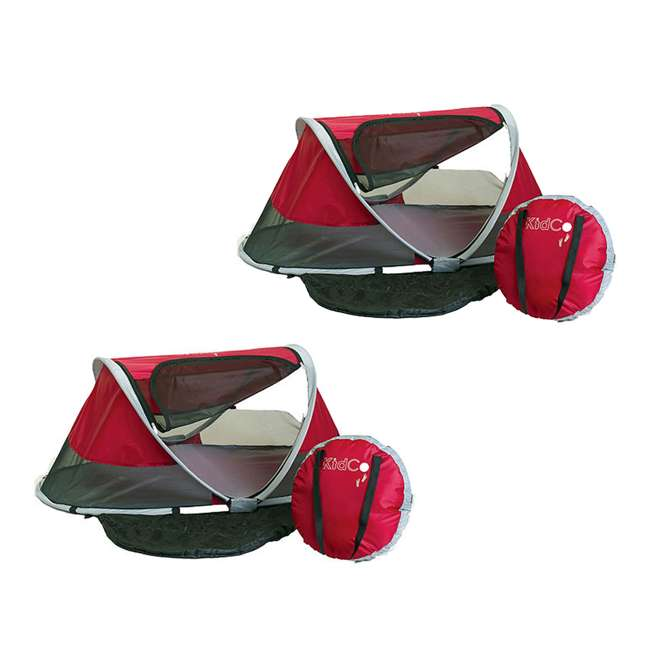P3010 KidCo PeaPod Portable Toddler Travel Bed, Cranberry (2 Pack)