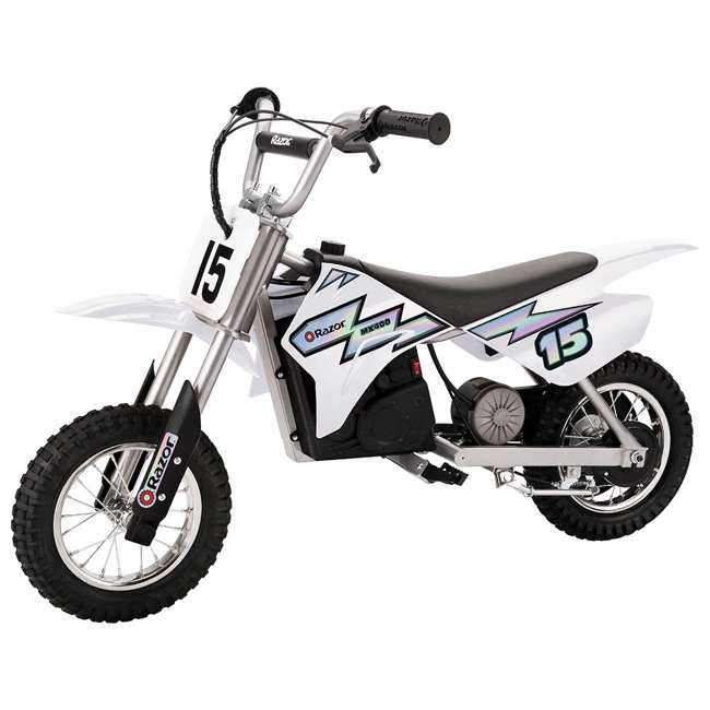 15128008 + 97775 Razor MX400 Dirt Rocket Electric Motorcycle, White + Helmet 1