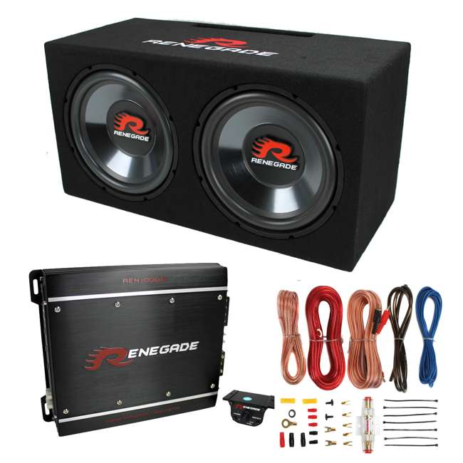 renegade rxv1202 12 inch 1200w dual subwoofer with enclosure with 850w amp with amp kit pair. Black Bedroom Furniture Sets. Home Design Ideas