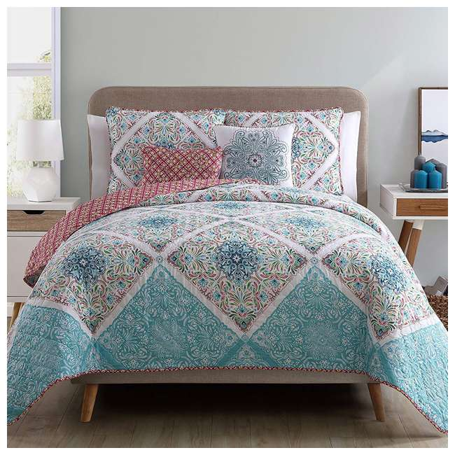 WIN-5QT-KING-IN-MU VCNY Home Windsor Floral Medallion Pink 5 Piece Reversible Bed Quilt Set, King 1
