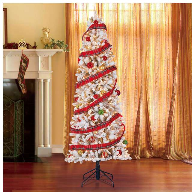 TG70P3A45S04-U-B Home Heritage 7' Frosted Alpine Quick Set Flocked Christmas Lit Tree (Used) 1