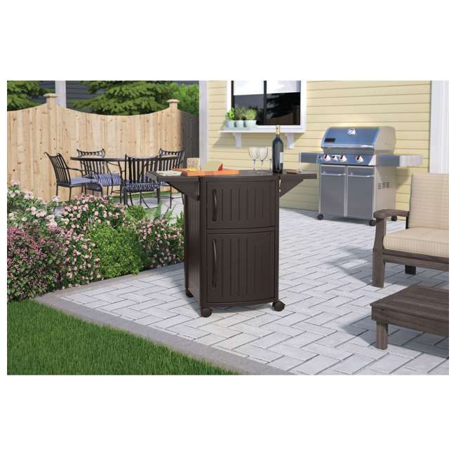 DCP2000JD Suncast Outdoor Meal Serving Station and Cabinet, Brown (2 Pack) 3