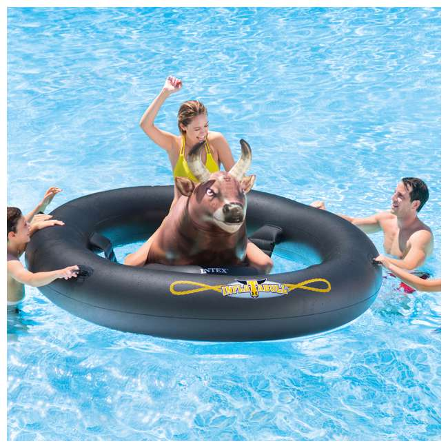 90705 + 56285EP Swimline Inflatable Peacock & Giant Inflatabull Swimming Pool Float Ride On 7