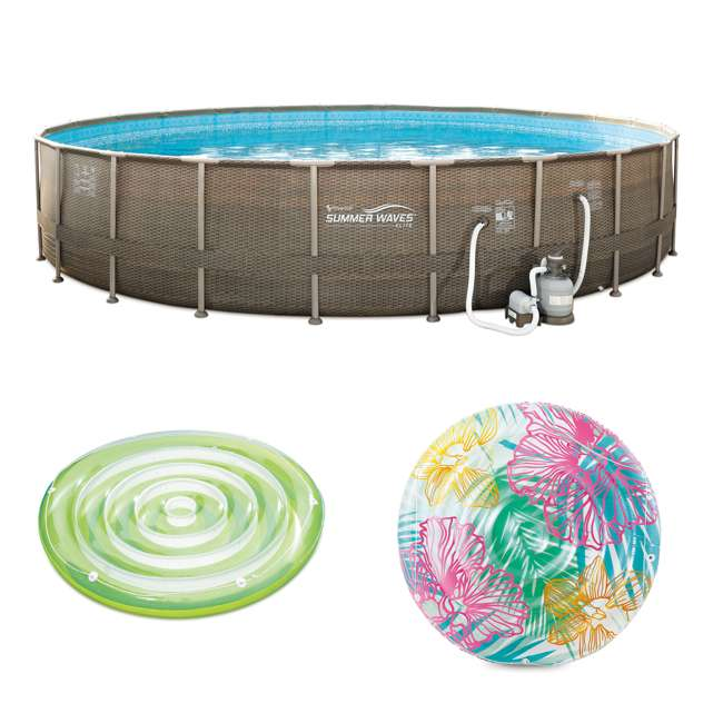 P4N024521167 + K80002000167 + K80188000167 Summer Waves Round 24 Foot Frame Pool w/ Inflatable Swirl Hibiscus Floats