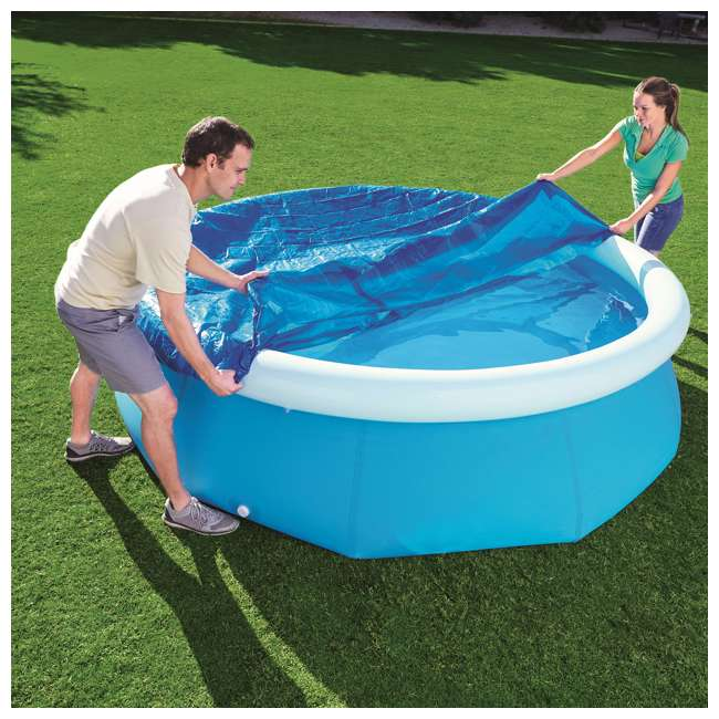 58033E-BW-U-A Bestway Flowclear Fast Set 10 Foot Above Ground Pool Cover (Open Box) (2 Pack) 3