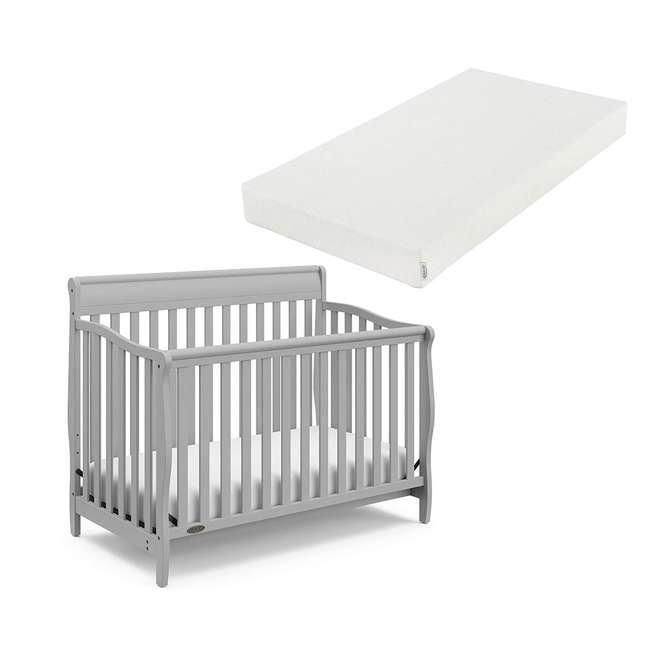 04530-66F + 06711-300 Graco Stanton 4-in-1 Crib in Pebble Gray w/ Natural Foam Mattress