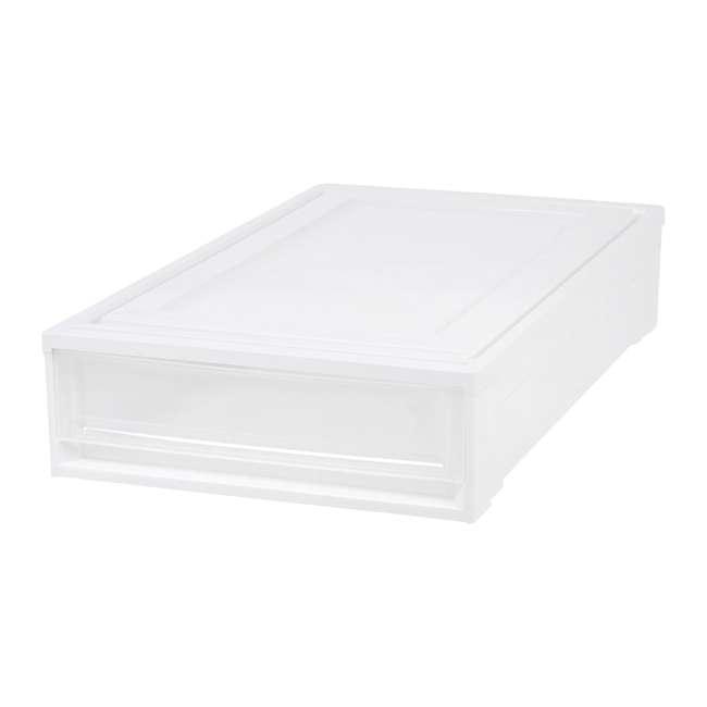 588525-4PK IRIS USA Under Bed Plastic Box Chest Drawer Storage Container, White (4 Pack) 1