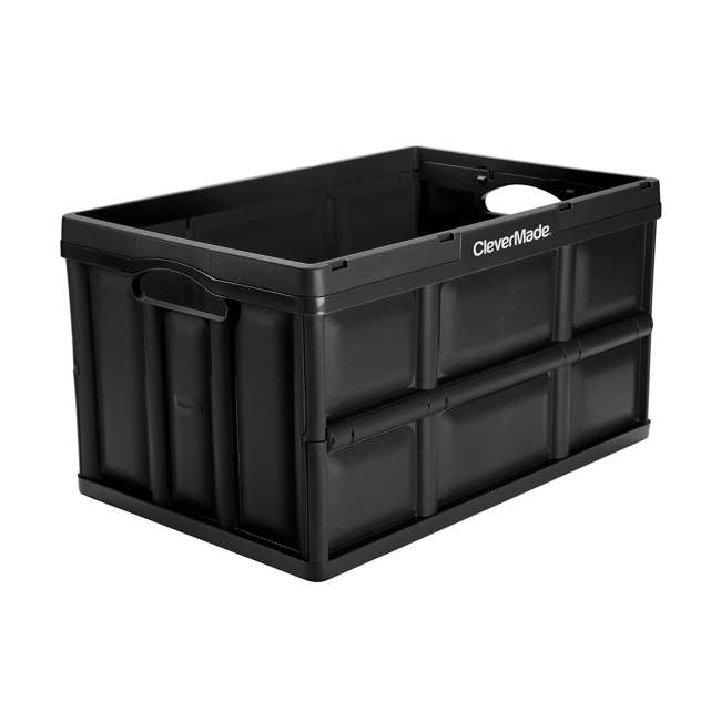 8031748-0063PK CleverMade Durable Stackable 62L Home Collapsible Storage Bins, Black (3-Pack) 1