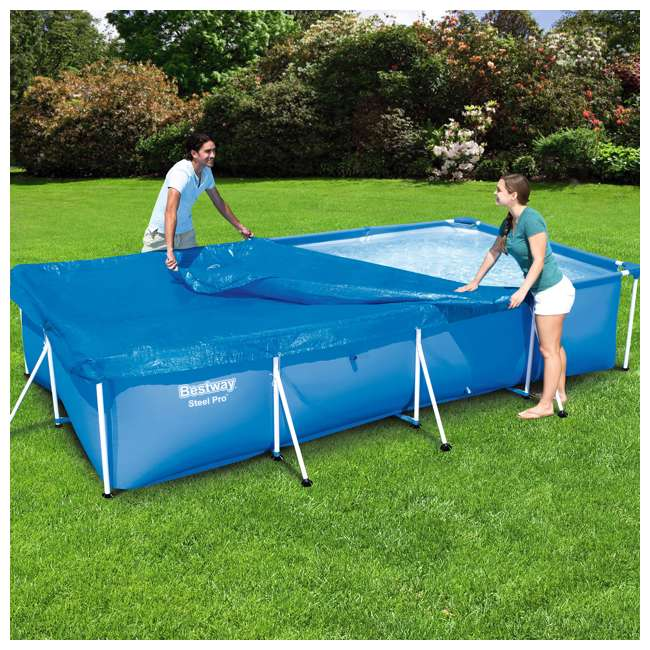 58107-BW-U-A Bestway 157 x 83 Inch Above Ground Pool Tarp Cover for Steel Pro Pool (Open Box) 2