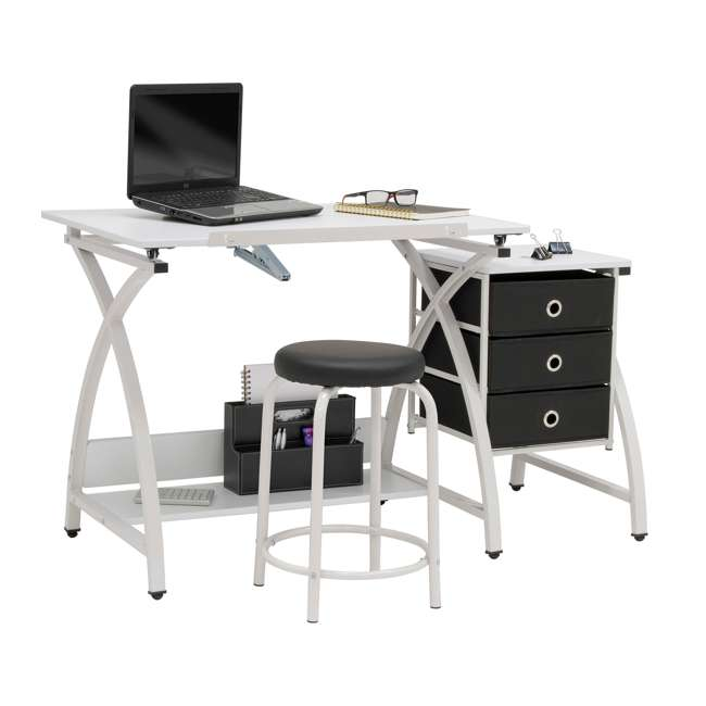 STDN-38016 SD STDN-38016 Comet 2 Piece Craft Table with Adjustable Top and Stool, White 4