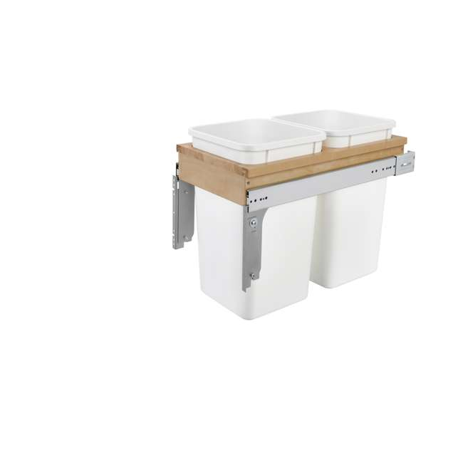 4WCTM-15DM2-25 Rev-A-Shelf 4WCTM-15DM2 Double 27 Qt Pull Out Top Mount Trash Container, White 2
