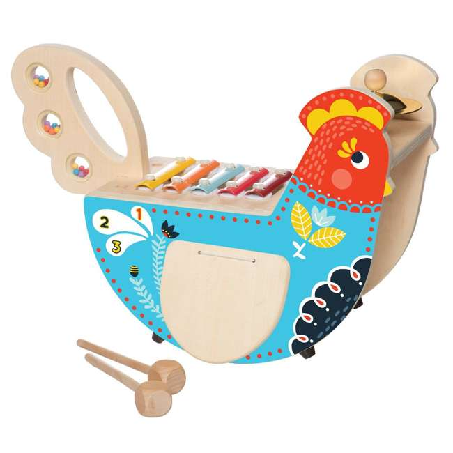 216570 Manhattan Toy Musical Colorful Chicken Wooden Instrument with 5 Attachments