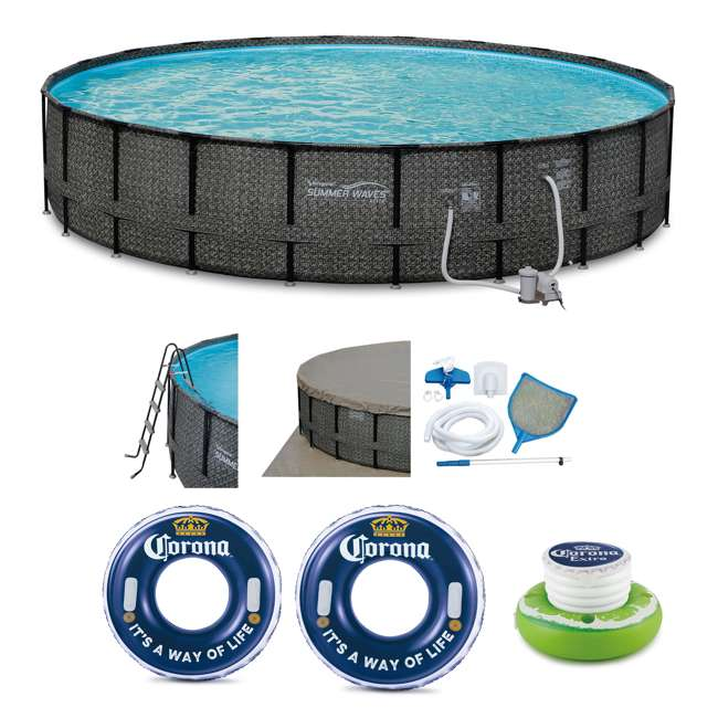 """P4A02252B167 + 2 x K10423D00167 + KF0226B00167 Summer Waves 22' x 52"""" Frame Pool Set w/Floating Cooler w/Cup Holder and Floats"""