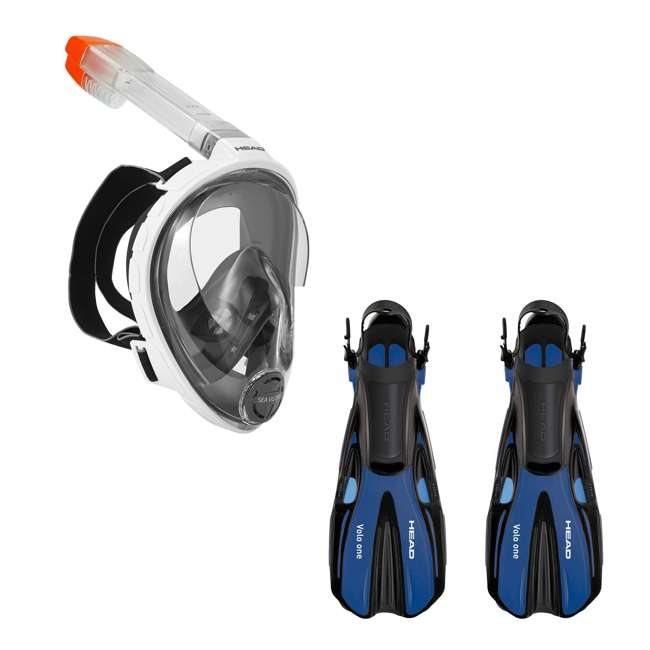 496325-WHBKS/M + 480203-SFBLML Head Sea Vu Dry Full-Face Adult S/M Snorkel Swim Mask & M/L Fins