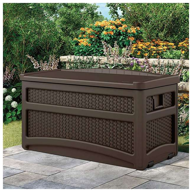 DBW7500-U-A Suncast Outdoor Patio Storage Chest with Handles and Seat (Open Box) (2 Pack) 1