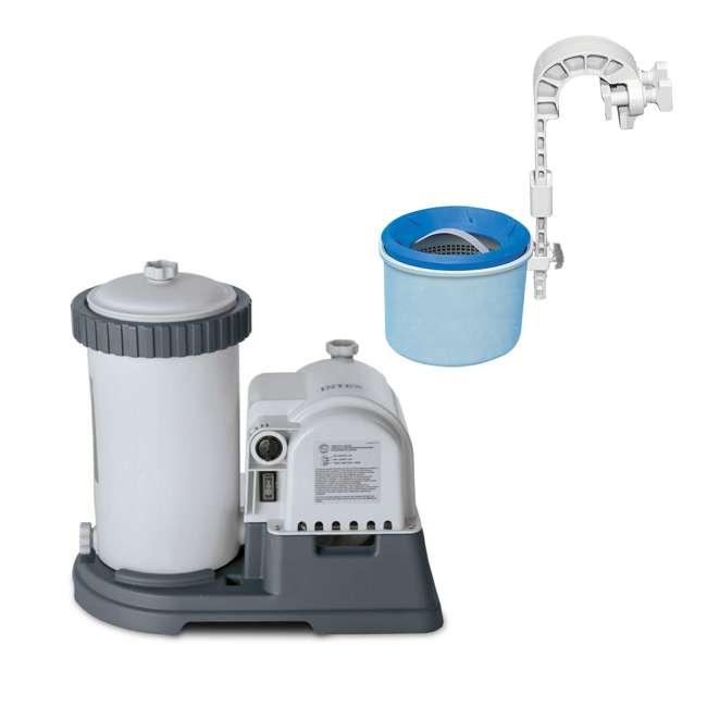28633EG + 28000E Intex 2500 GPH Swimming Pool Filter Pump and Wall Mounted Surface Skimmer