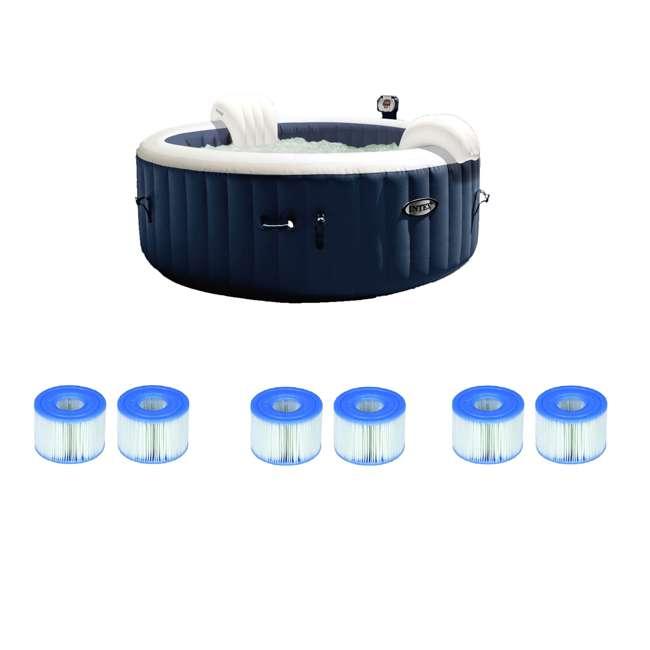28405E + 3 x 29001E Intex 28405E 4 Person Round Hot Tub (2 Pack) & Intex Filter Cartridges (2 Filters) (3 Pack)