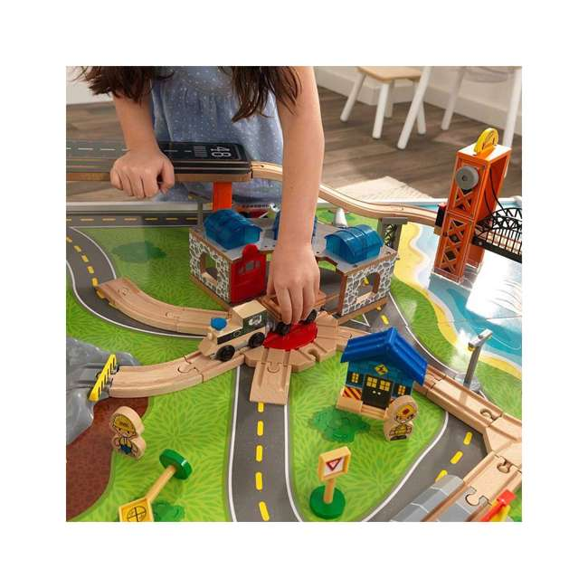 KDK-18012 KidKraft 18012 Railway Express Kid Toddler Wooden 79 Piece Toy Train Set & Table 6