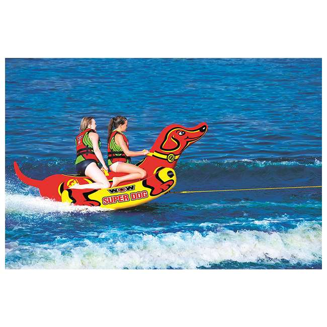 19-1160 WOW Watersports 19-1160 Super Dog 2 Person Towable Tube w/ Handles, Yellow & Red 3