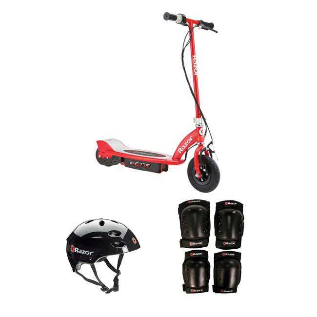 13111259 + 97778 + 96785 Razor Electric Power Kids Scooter, Red + Youth Sport Helmet + Elbow & Knee Pads