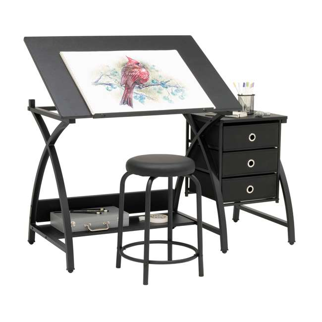 STDN-38015 Studio Designs Venus 2-Piece Craft Adjustable Tabletop w/ Storage & Stool, Black 2