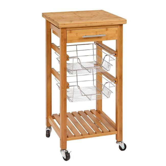 CSK-007 SpaceMaster Bamboo Kitchen Cart with Sliding Drawer 3