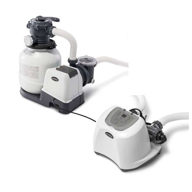 26645EG + 26669EG Intex Pool Sand Filter Pump w/Krystal Clear Saltwater System