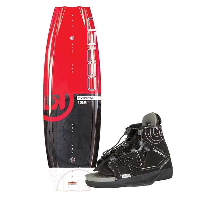 2180194-MW O'Brien System 135 Beginner Wakeboard Package with Clutch 4 to 8 Boot Bindings