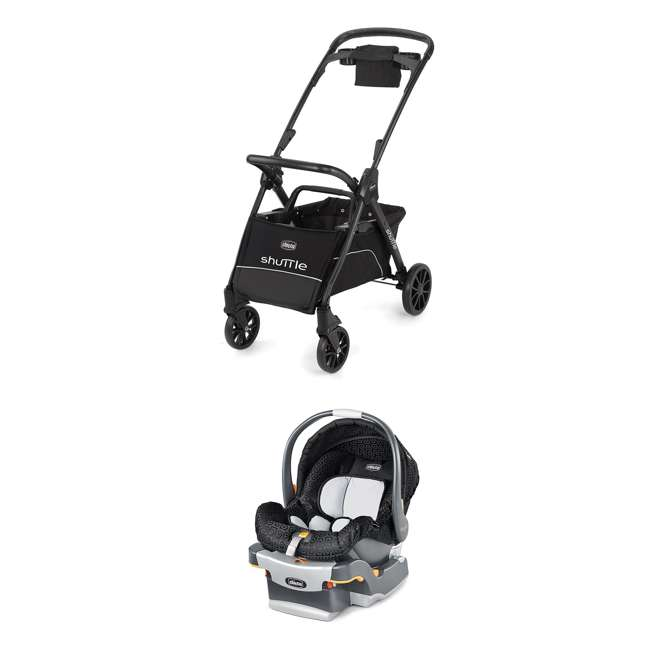 CHI-0607966295 + CHI-0706041450 Chicco Car Seat Compatible Shuttle Frame Stroller and Rear Facing Baby Car Seat