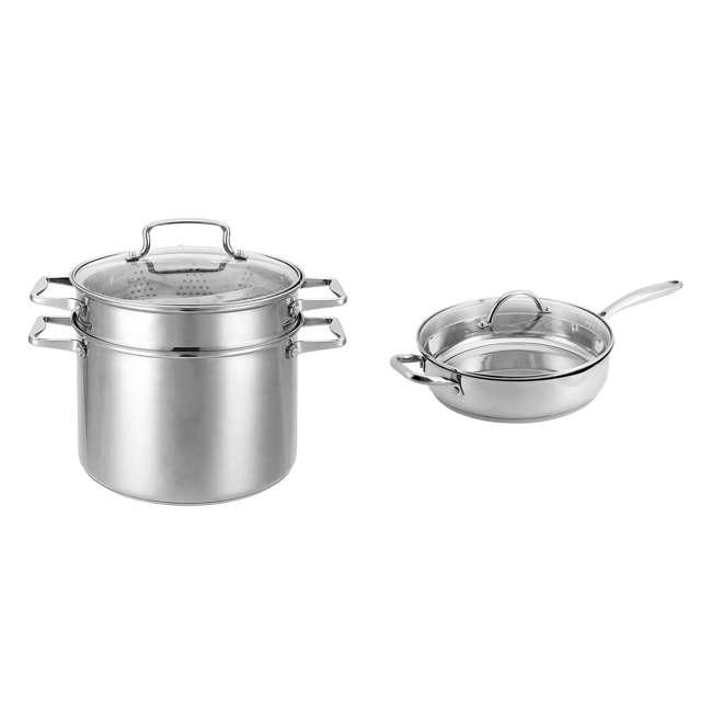 HBO601 + HBL102 Hamilton Beach 8.5 Quart 4 Piece Stock Pot Set + 11 Inch Saute Pan with Lid