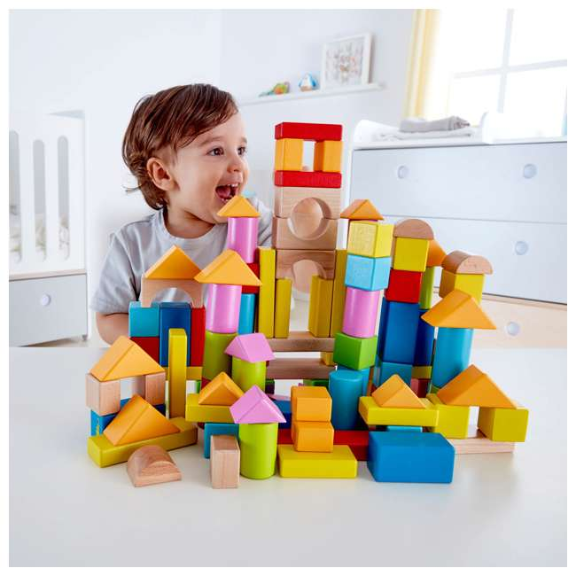 4 x HAP-E0427 Hape Kid's Build Up and Away Wood Blocks Toy Set (4 Pack) 2