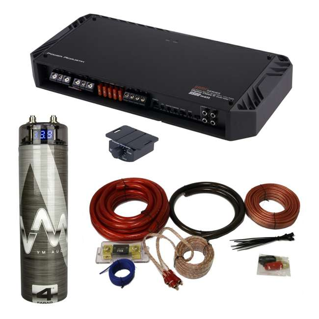 Power Acoustik BAMF-5500/1D 5500W Mono Amplifier + 4 5 Farad Capacitor +  Amp Kit (Package)