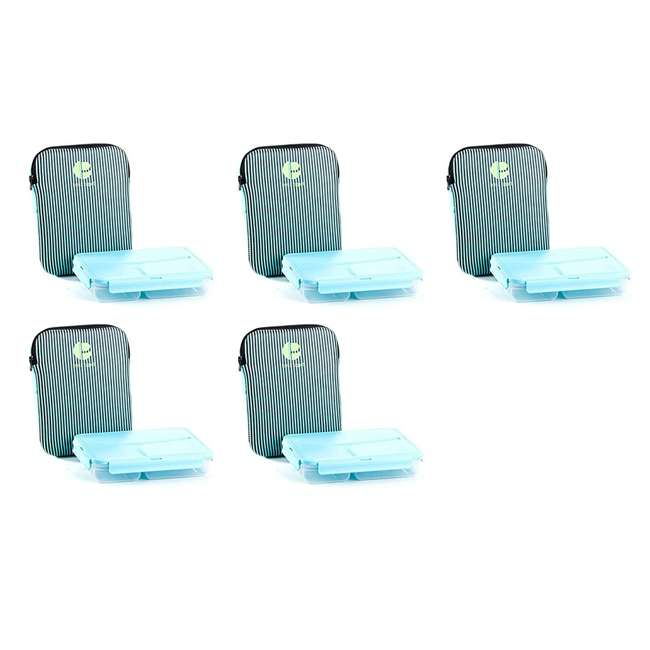 5 x L1009 Life Story Plastic Compartment Lunch Container with Insulated Sleeve (5 Pack)