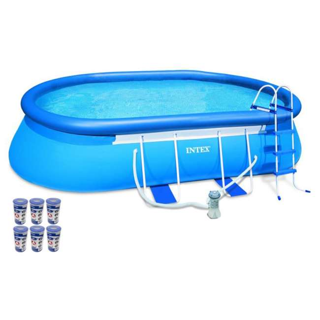 Intex 18 39 X 10 39 X 42 Oval Frame Swimming Set With 1000 Gph Filter Pump 26191eh 29000e 6pk